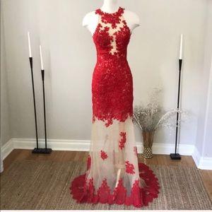 Mac Duggar red sheer lace formal prom dress